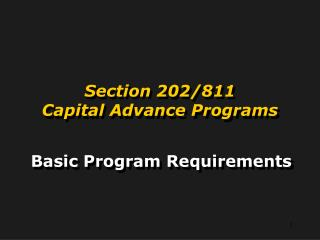 Section 202/811 Capital Advance Programs