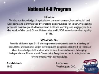 National 4-H Program Mission: