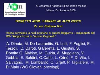 PROGETTO AIOM: FARMACI AD ALTO COSTO Dr.ssa Stefania Gori