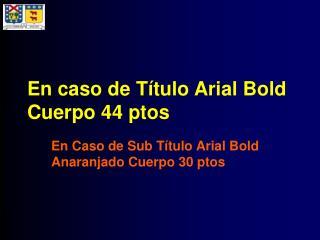 En caso de Título Arial Bold Cuerpo 44 ptos