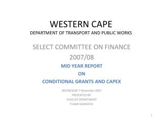 WESTERN CAPE DEPARTMENT OF TRANSPORT AND PUBLIC WORKS