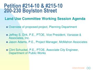 Land Use Committee Working Session Agenda Overview of proposed project, Planning Department