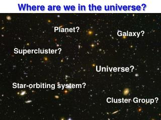 Where are we in the universe?