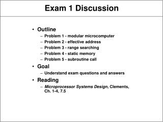 Exam 1 Discussion