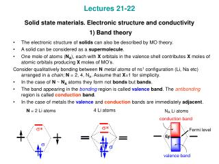 Lectures 21-22 Solid state materials. Electronic structure and conductivity 1) Band theory