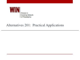Alternatives 201:  Practical Applications
