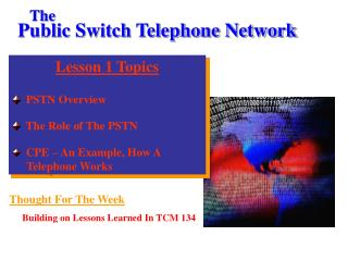 Lesson 1 Topics   PSTN Overview   The Role of The PSTN   CPE – An Example, How A