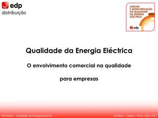 Qualidade da Energia Eléctrica O envolvimento comercial na qualidade para empresas