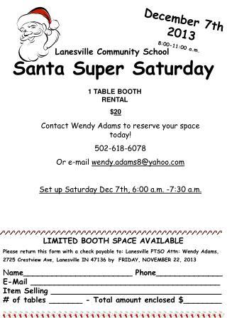 December 7th 2013 8:00-11:00 a.m.