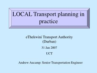LOCAL Transport planning in practice