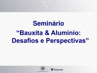 """Seminário  """"Bauxita & Alumínio: Desafios e Perspectivas"""""""