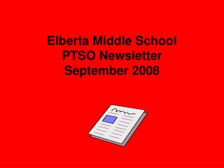 Elberta Middle School PTSO Newsletter September 2008