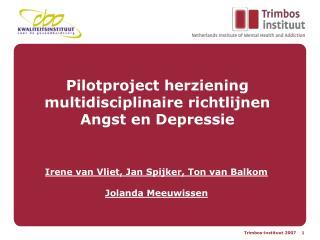 Pilotproject herziening multidisciplinaire richtlijnen  Angst en Depressie