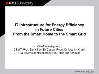 IT Infrastructure for Energy Efficiency  in Future Cities: From the Smart Home to the Smart Grid