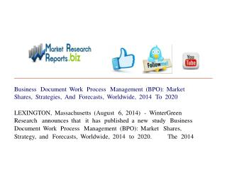 Business Document Work Process Management (BPO): Market Shar