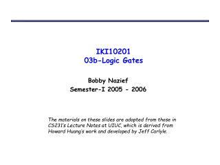 IKI10201 03b-Logic Gates