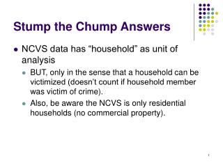 Stump the Chump Answers