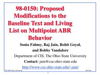 98-0150: Proposed Modifications to the  Baseline Text and Living List on Multipoint ABR Behavior