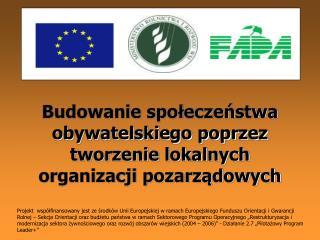 Budowanie społeczeństwa obywatelskiego poprzez tworzenie lokalnych organizacji pozarządowych