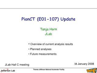 PionCT (E01-107) Update