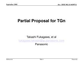 Partial Proposal for TGn