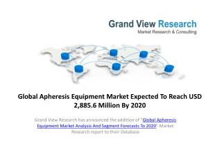 Apheresis Equipment Market Analysis & Forecast to 2020.