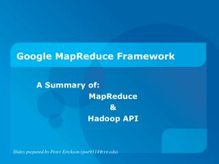 Google MapReduce Framework