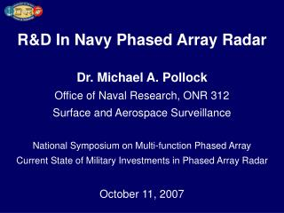 RD In Navy Phased Array Radar