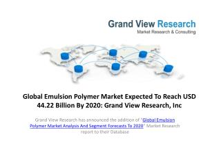 Emulsion Polymer Market By Product Growth to 2020
