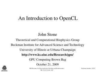 An Introduction to OpenCL