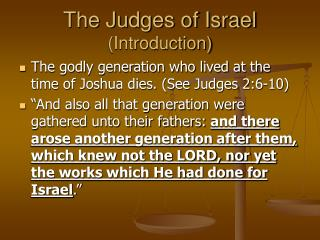 The Judges of Israel  (Introduction)