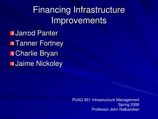 Financing Infrastructure Improvements