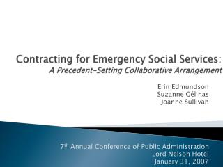 Contracting for Emergency Social Services:  A Precedent-Setting Collaborative Arrangement