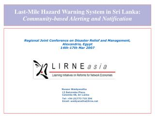 Last-Mile Hazard Warning System in Sri Lanka:  Community-based Alerting and Notification