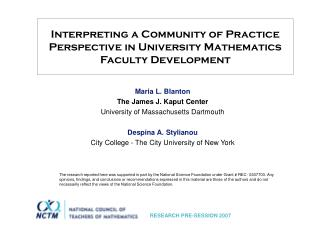 Interpreting a Community of Practice Perspective in University Mathematics Faculty Development