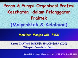 Peran & Fungsi Organisasi Profesi Kesehatan  dalam Pelanggaran Praktek  (Malpraktek & Kelalaian)