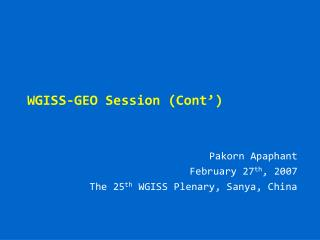 WGISS-GEO Session (Cont')