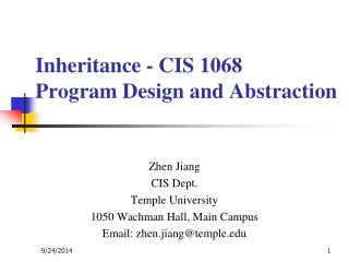 Inheritance - CIS 1068  Program Design and Abstraction