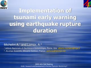 Implementation of  tsunami early warning using earthquake rupture duration