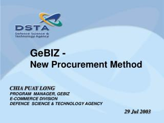 GeBIZ -  New Procurement Method