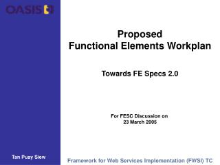 Proposed Functional Elements Workplan