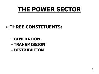 THE POWER SECTOR