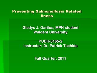 Preventing Salmonellosis Related llness