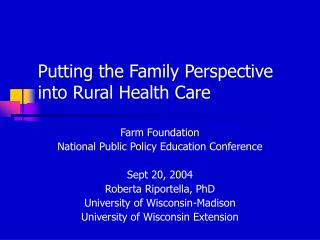 Putting the Family Perspective into Rural Health Care