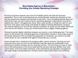 Best Digital Agency in Manchester