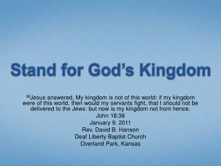 Stand for God's Kingdom