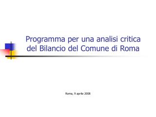 Programma per una analisi critica  del Bilancio del Comune di Roma