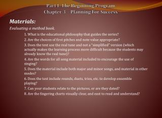 Part I: The Beginning Program Chapter 3 – Planning For Success