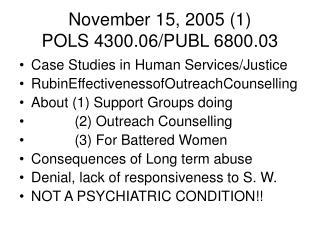 November 15, 2005 (1) POLS 4300.06/PUBL 6800.03