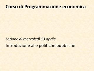 Corso di Programmazione economica